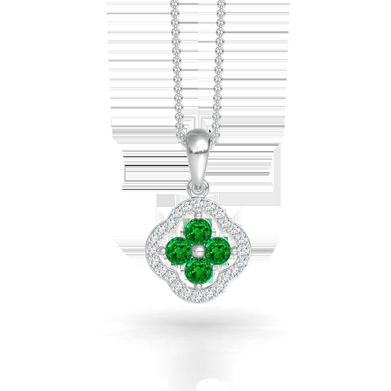 Diamond Framed Emerald Clover Pendant Necklace