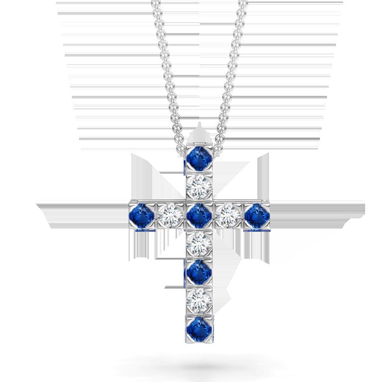 Flat Prong-Set Blue Sapphire and Diamond Cross Pendant