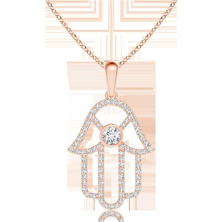 Bezel Set Diamond Hamsa Hand Pendant